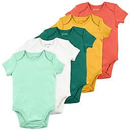 Mac & Moon Size 24M 5-Pack Solid Short Sleeve Organic Cotton Bodysuits in Orange/Yellow