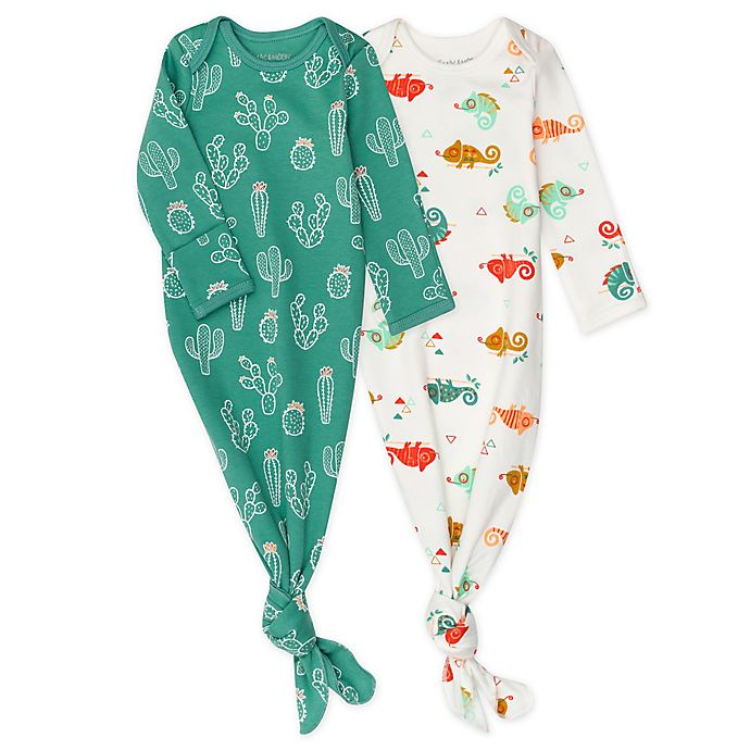 Alternate image 1 for Mac & Moon 2-Pack Chameleon Cactus Organic Cotton Baby Gowns in Orange