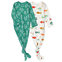 Mac & Moon 2-Pack Chameleon Cactus Organic Cotton Baby Gowns in Orange