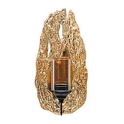 Danya B.™ Vivien Abstract Wall Candle Sconce with Glass Hurricane in Gold