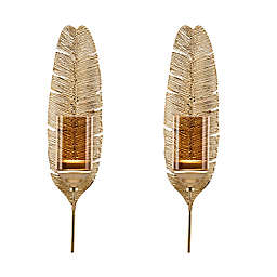 Danya B.™ Ana Feather Metal Wall Sconce Candle Holders in Gold (Set of 2)