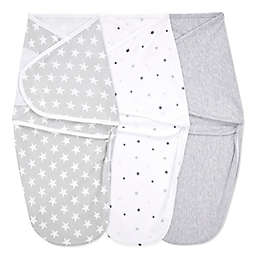 aden + anais® essentials 3-Pack Twinkle Easy Wrap Swaddle Wraps in Grey
