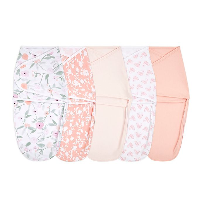 Alternate image 1 for aden + anais® essentials 5-Pack Feminine Florals Easy Wrap Swaddle Wraps in Pink
