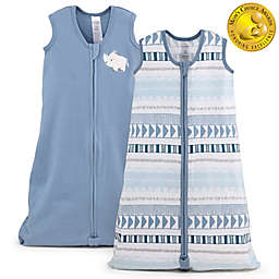 The PeanutShell™ 2-Pack Medium/Large Rhino Wearable Blankets in White/Blue
