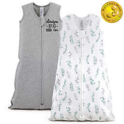The PeanutShell™ 2-Pack Medium/Large Floral Leaves Wearable Blankets in White/Grey
