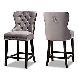 Baxton Studio™ Conner Velvet Counter Stools in Grey/Brown (Set of 2)