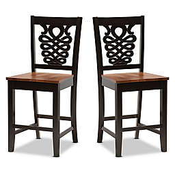 Baxton Studio Amir  Counter Stools in Brown Walnut(Set of 2)
