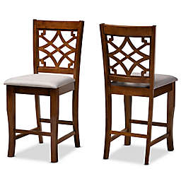 Baxton Studio Penelope Counter Stools in Grey/Walnut (Set of 2)