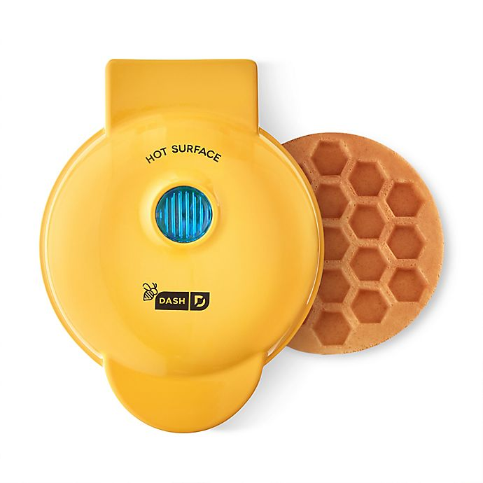 Alternate image 1 for Dash® Honeycomb Mini Waffle Maker in Yellow