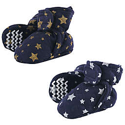 Hudson Baby® 2-Pack Metallic Stars Quilted Booties in Blue