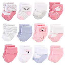 Hudson Baby® Size 0-3M 12-Pack Safari Crew Socks in Pink