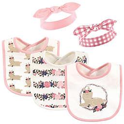 Hudson Baby® 5-Piece Fawn Bib and Headband Set in Pink