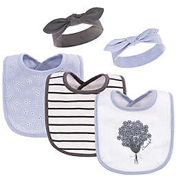 Hudson Baby® 5-Piece Periwinkle Bib and Headband Set in Purple