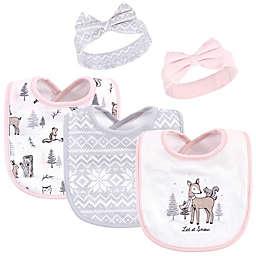 Hudson Baby® 5-Piece Winter Forest Bib and Headband Set in Pink
