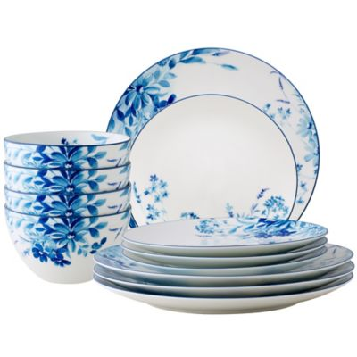 Bed Bath Beyond For Noritake Blossom Road 12 Piece Dinnerware Set In White Blue Accuweather Shop