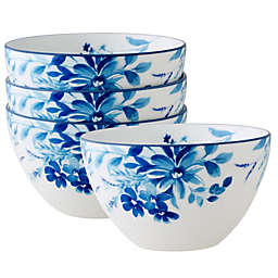 Noritake® Blossom Road Soup/Cereal Bowls in White/Blue (Set of 4)