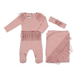 HannaKay, By Maniere 3-Piece Glitter Tutu Footie, Blanket, and Headwrap Set in Pink