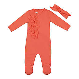 HannaKay, By Maniere 2-Piece Floral Petals Footie and Headwrap Set in Coral