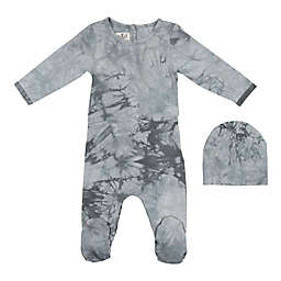 HannaKay, By Maniere Tie Dye Footie and Matching Hat in Grey
