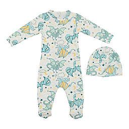 HannaKay, By Maniere Dragon Print Footie and Matching Hat