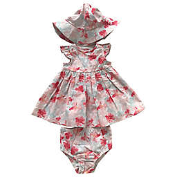 Sterling Baby Pink Flower 3-Piece Dress, Panty and Hat Set