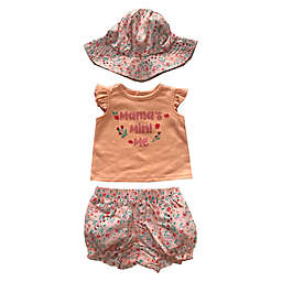 Sterling Baby 3-Piece Mama's Mini Shirt, Short, and Bucket Hat Set in Coral