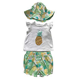 Sterling Baby 3-Piece Pineapple Shirt, Short, and Bucket Hat Set in White