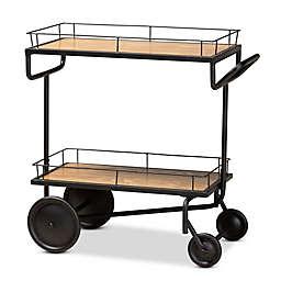Baxton Studio Lamar 2-Tier Wine Cart in Brown/Black