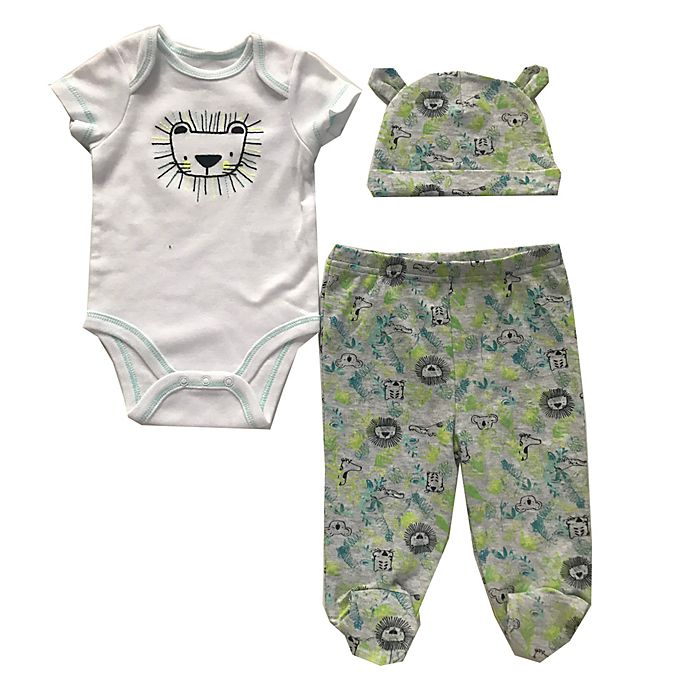 Alternate image 1 for Sterling Baby 3-Piece Bodysuit, Footed Pant, and Hat Set