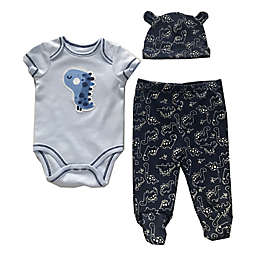 Sterling Baby Size 9M 3-Piece Dino Bodysuit, Footed Pant, and Hat Set in Blue