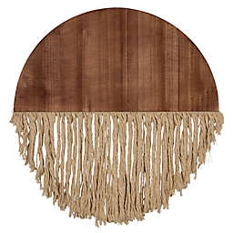 Stratton Home Décor Half Circle 23.5-Inch x 23.5-InchWood and Macrame Wall Art