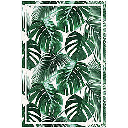 American Art Decor Tropical Monstera Leaf 24-Inch x 36-Inch Vinyl Floor Mat in White/Green