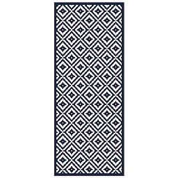 American Art Decor™ Geometric Vinyl Floor Mat in Blue/White