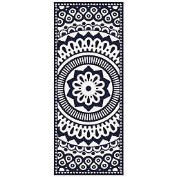 American Art Decor™ Geometric Mandala Vinyl Floor Mat in Blue/White