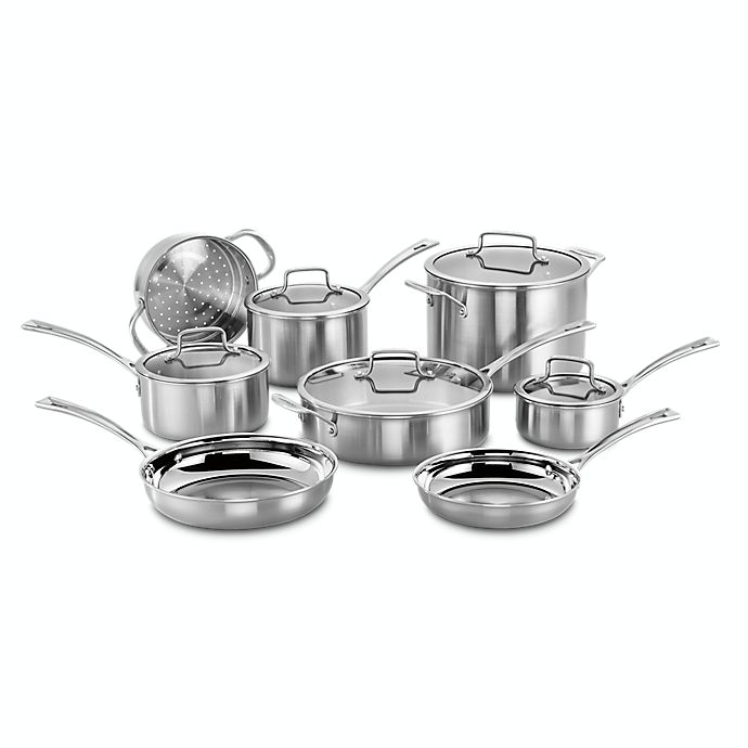 Alternate image 1 for Cuisinart® Tri-Ply Pro Stainless Steel 13-Piece Cookware Set