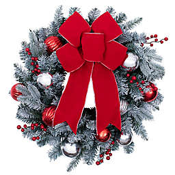 24-Inch Pre-Lit Frosted Christmas Wreath in White