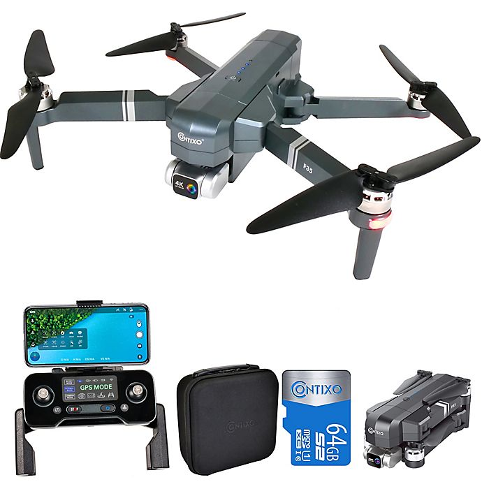 Contixo F35 RC GPS Drone for Adults with 4K UHD Camera 2-Axis Self-Stabilizing Gimbal, 5000ft Fly Range, VR Compatible, Wifi Camera, FPV View, Brushless Motor, 64GB Micro SD & Carrying Case