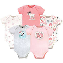 Hudson Baby® Size 0-3M 5-Pack Forest Girl Bodysuits in Pink