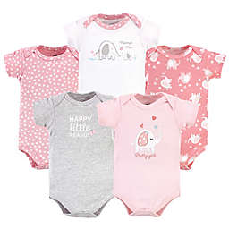 Luvable Friends® Size 9-12M 5-Pack Girl Elephant Short Sleeve Bodysuits in Pink