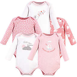 Luvable Friends® Size 0-3M 5-Pack Elephant Long Sleeves Bodysuits in Pink