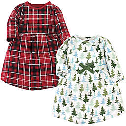 Hudson Baby® 2-Pack Evergreen Trees Dresses in Red/Multi