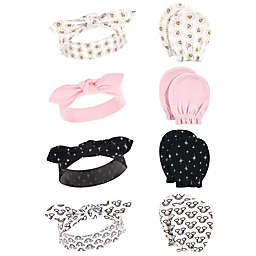Hudson Baby® 8-Piece Suns Headband and Scratch Mitten Set in Pink