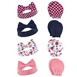 Hudson Baby® 8-Piece Floral Headband and Scratch Mitten Set in Pink