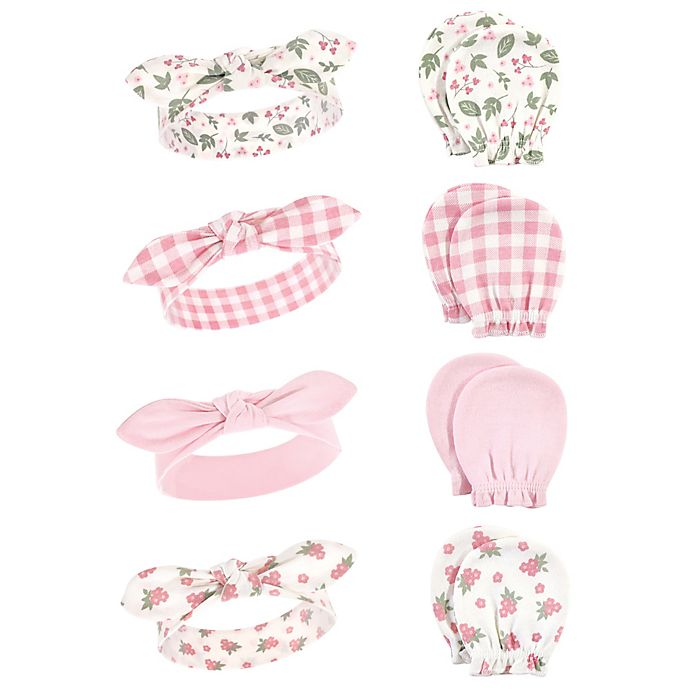 Alternate image 1 for Hudson Baby® 8-Piece Gingham Headband and Scratch Mitten Set in Pink