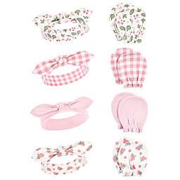 Hudson Baby® 8-Piece Gingham Headband and Scratch Mitten Set in Pink
