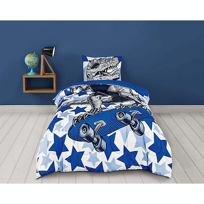 Alternate image 1 for Sleeping Partners Dinosaur 2-Piece Reversible Twin Comforter Set in Blue