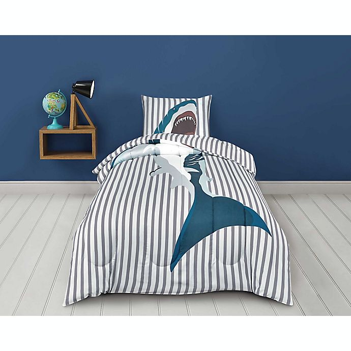 Alternate image 1 for Sleeping Partners Shark 2-Piece Reversible Twin Comforter Set in Grey
