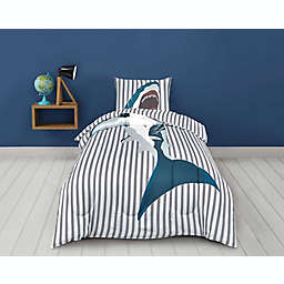 Sleeping Partners Shark 2-Piece Reversible Twin Comforter Set in Grey
