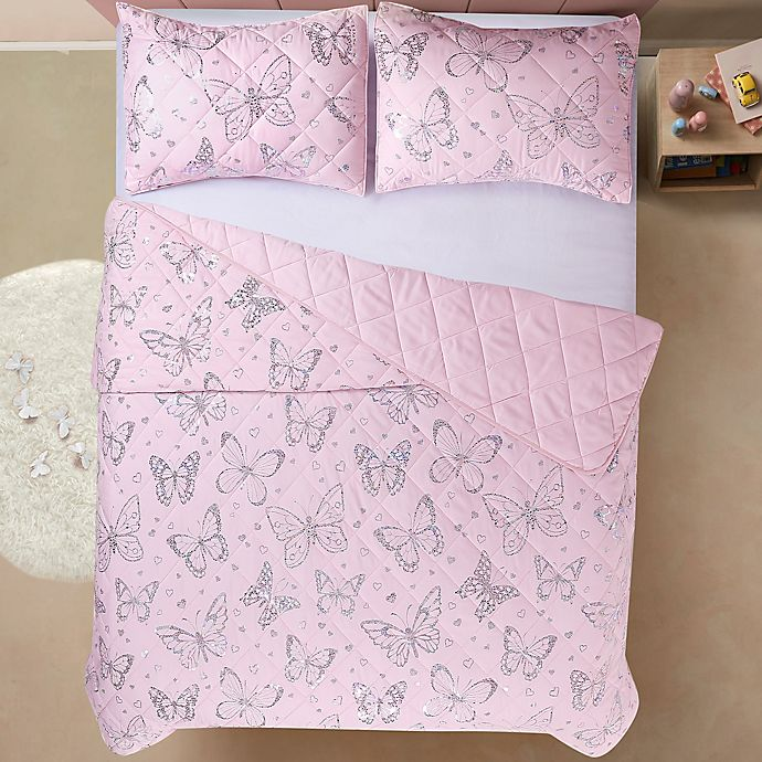 Alternate image 1 for Sleeping Partners Metallic Butterfly Twin 2-Piece Reversible Quilt Set in Pink