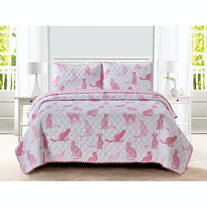 Alternate image 1 for Sleeping Partners Cat Pom Pom 3-Piece Reversible Full Quilt Set in Pink